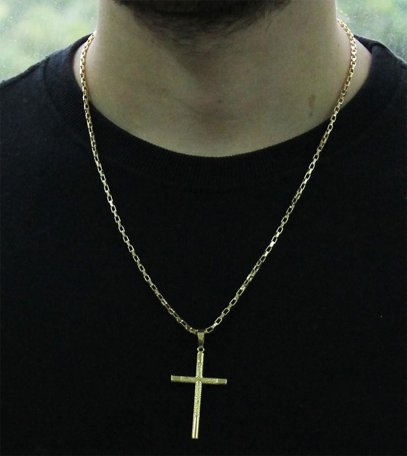 Kit Pingente Cruz com Corrente Cartier 2mm e 60cm Folheado a Ouro 18k
