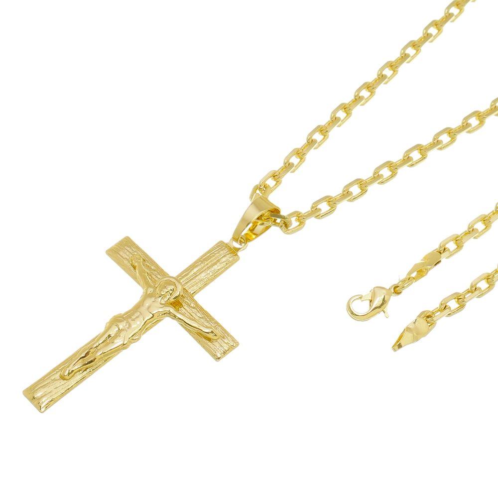 Kit Pingente Cruz com Corrente modelo francesa Diamantada Folheado a Ouro 18k
