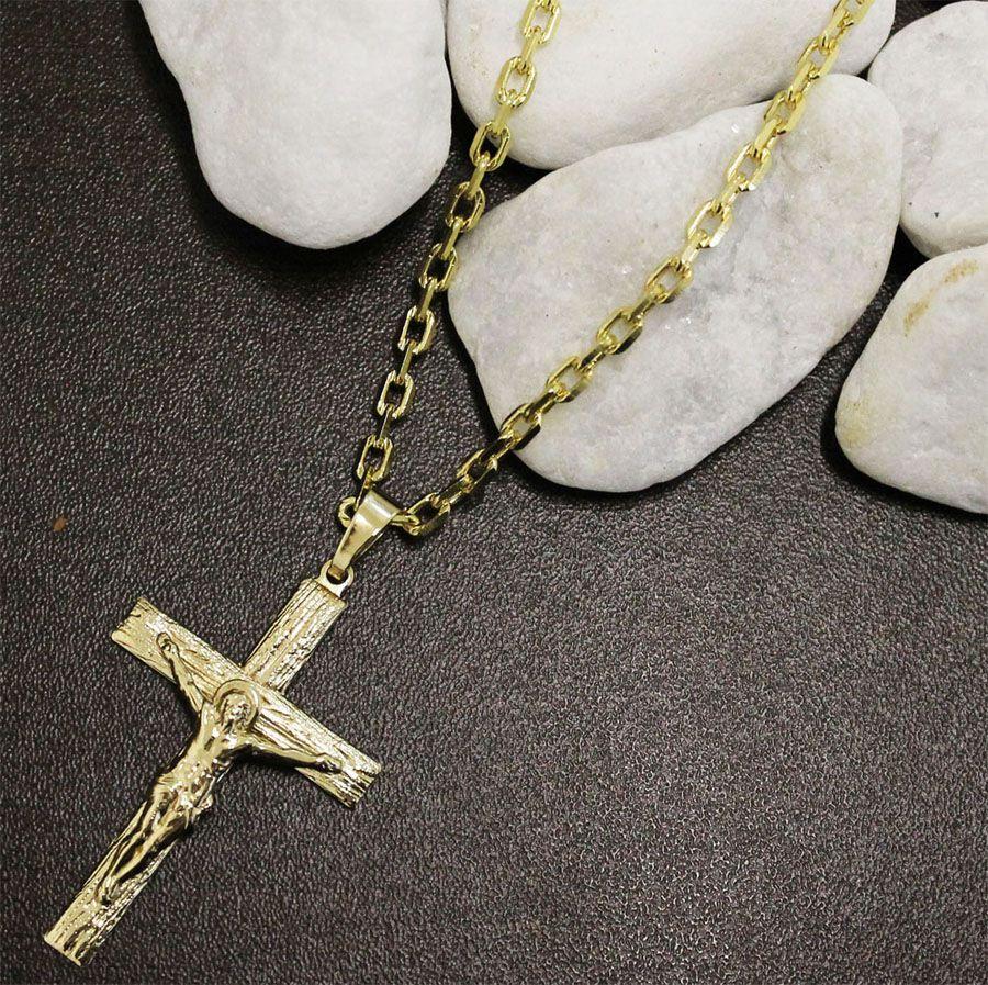 Kit Pingente Cruz com Corrente Cartier Diamantada Folheado a Ouro 18k