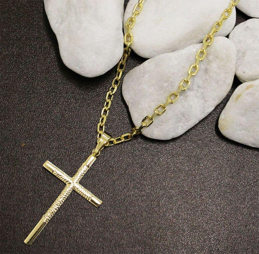 08562333353 ... Kit Pingente Cruz com Corrente Cartier Diamantada Folheado a Ouro 18k - Tudo  Jóias