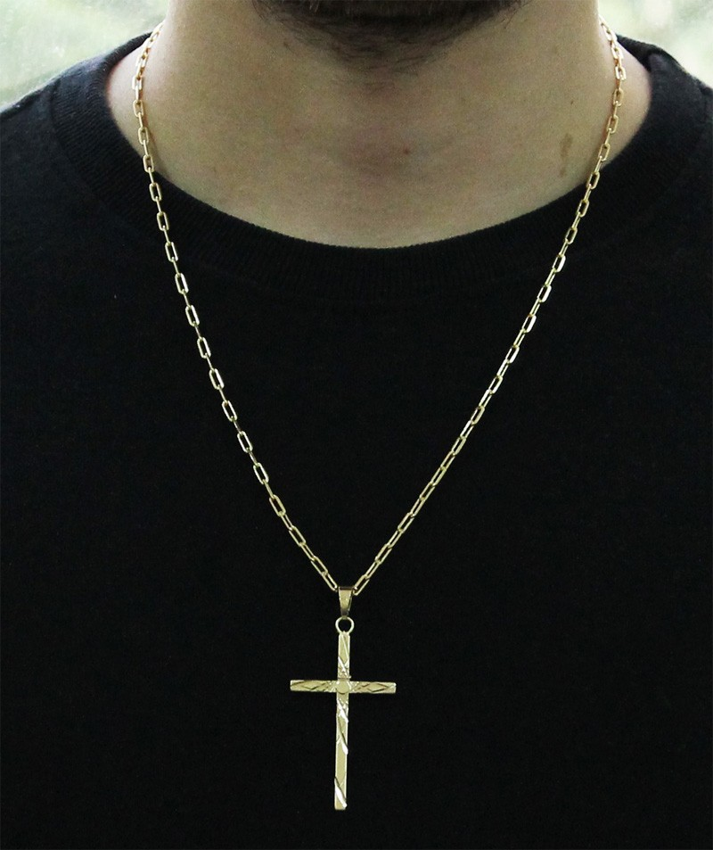 Kit Pingente Cruz com Corrente Cartier Longa 2mm e 60cm Folheado a Ouro 18k