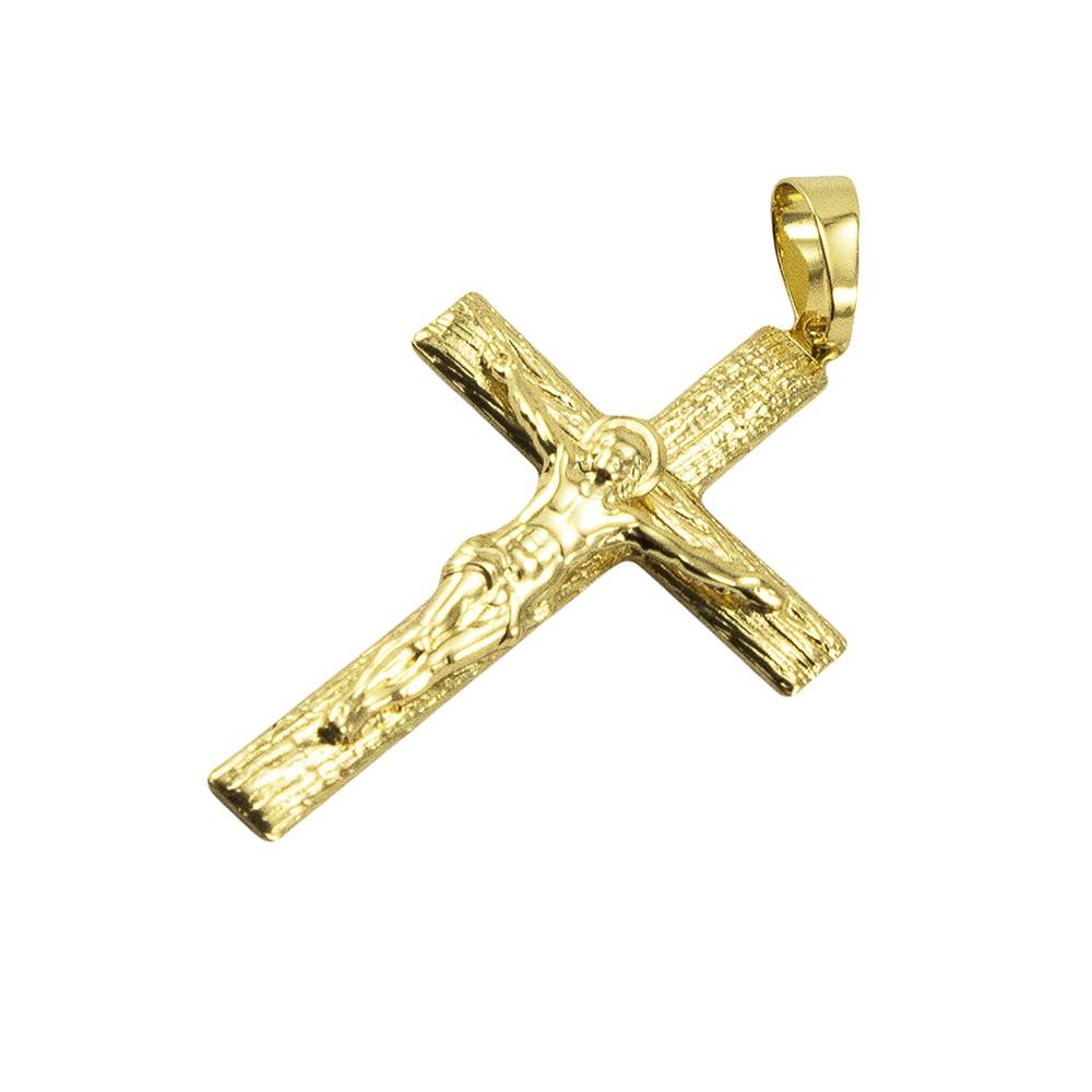 Kit Pingente Cruz com Corrente Elo 3x1 6mm e 60cm Folheado a Ouro 18k
