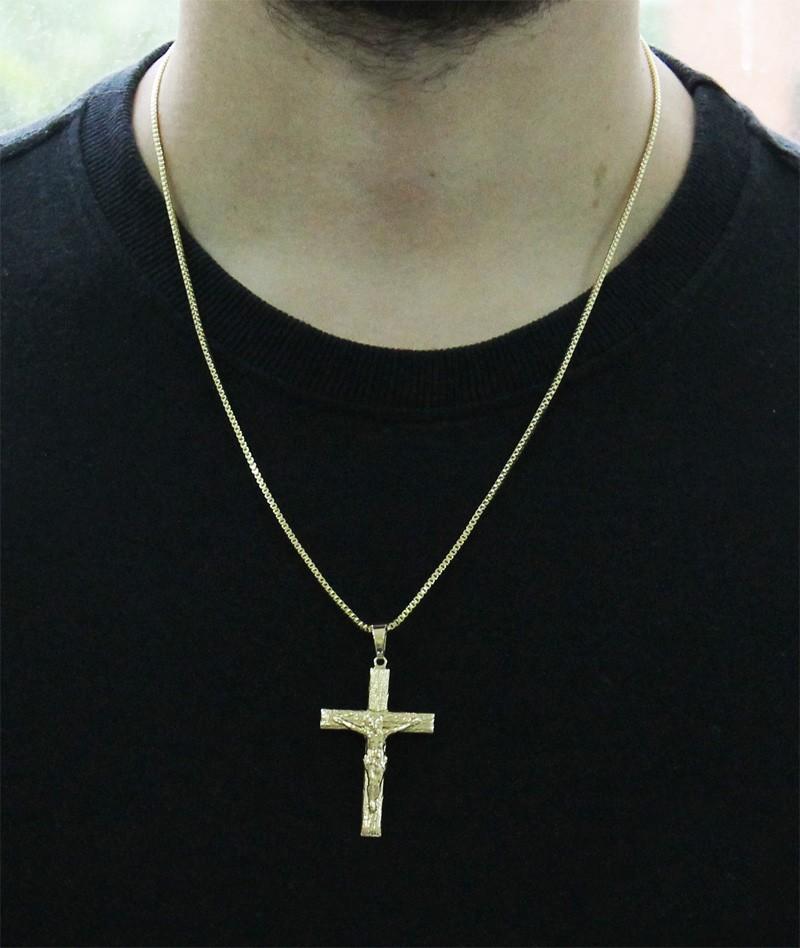 Kit Pingente Cruz com Corrente Veneziana 1,5mm e 60cm Folheado a Ouro 18k