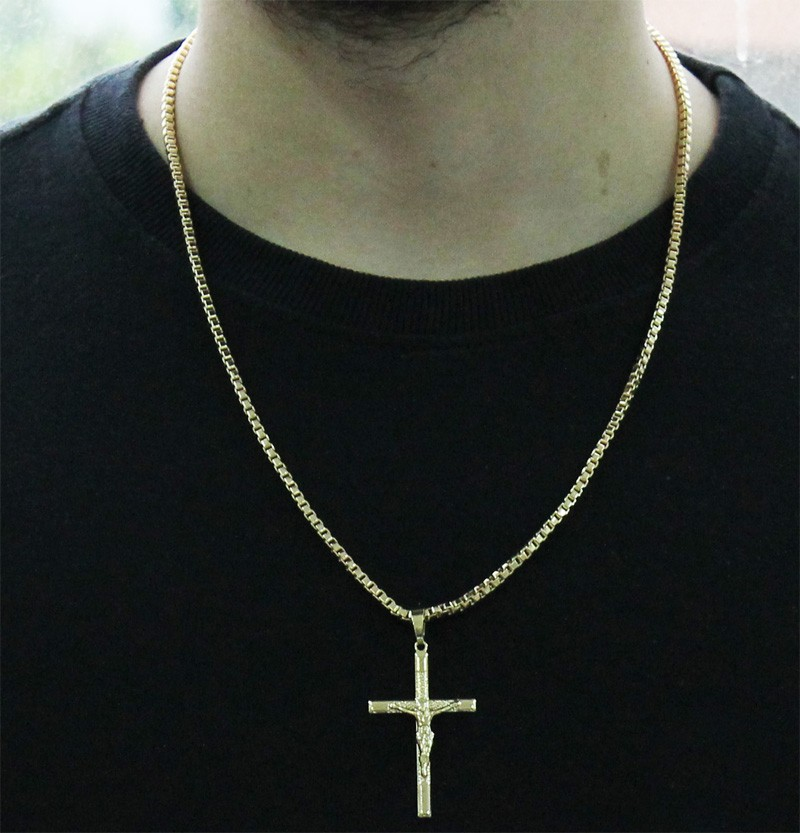Kit Pingente Cruz com Corrente Veneziana 3mm e 60cm Folheado a Ouro 18k