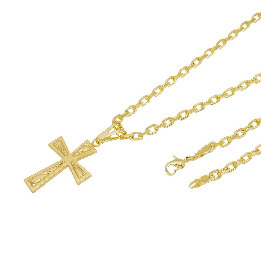 Kit Pingente Cruz Frisada com Corrente modelo francesa Diamantada Folheado a Ouro 18k
