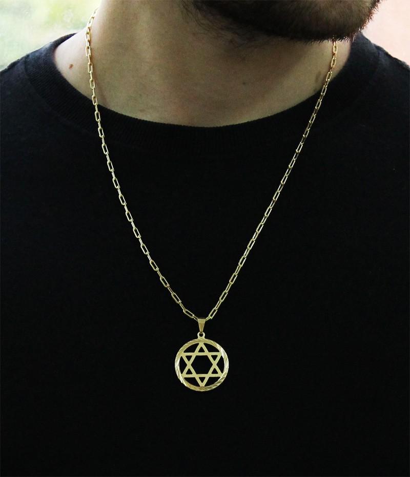 Kit Pingente Estrela de Davi com Corrente Cartier Longa 2mm e 60cm Folheada a Ouro 18k