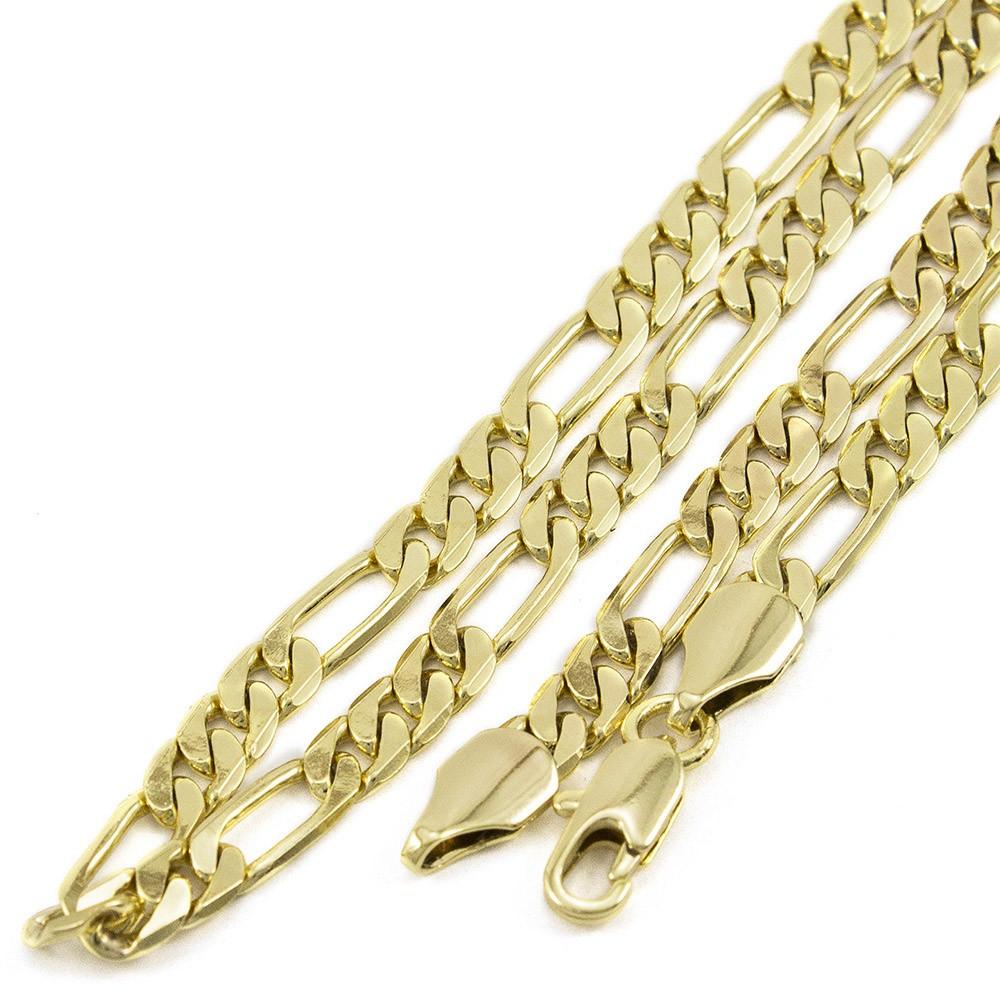 Kit Pingente Estrela de Davi com Corrente Elo 3x1 6mm e 60cm Folheada a Ouro 18k
