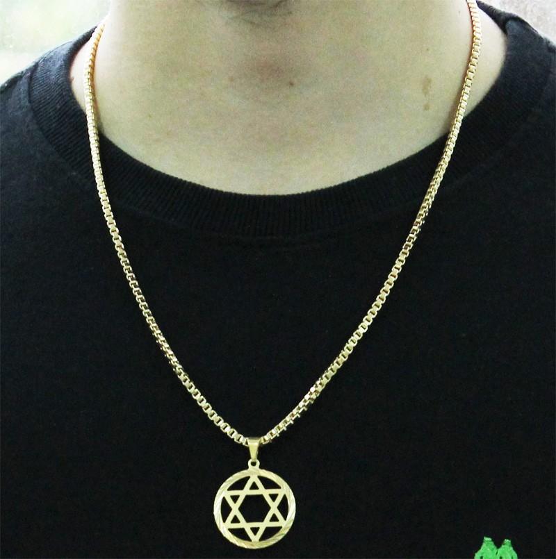 Kit Pingente Estrela de Davi com Corrente Veneziana 3mm e 60cm Folheado a Ouro 18k