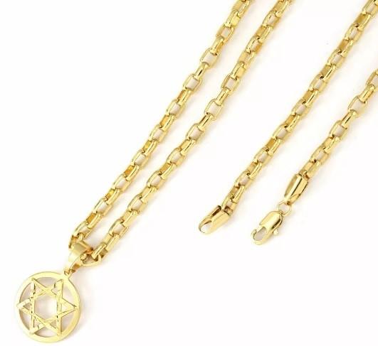 Kit Pingente Estrela de Davi Pequena com corrente modelo francesa 4mm Folheada a Ouro 18k
