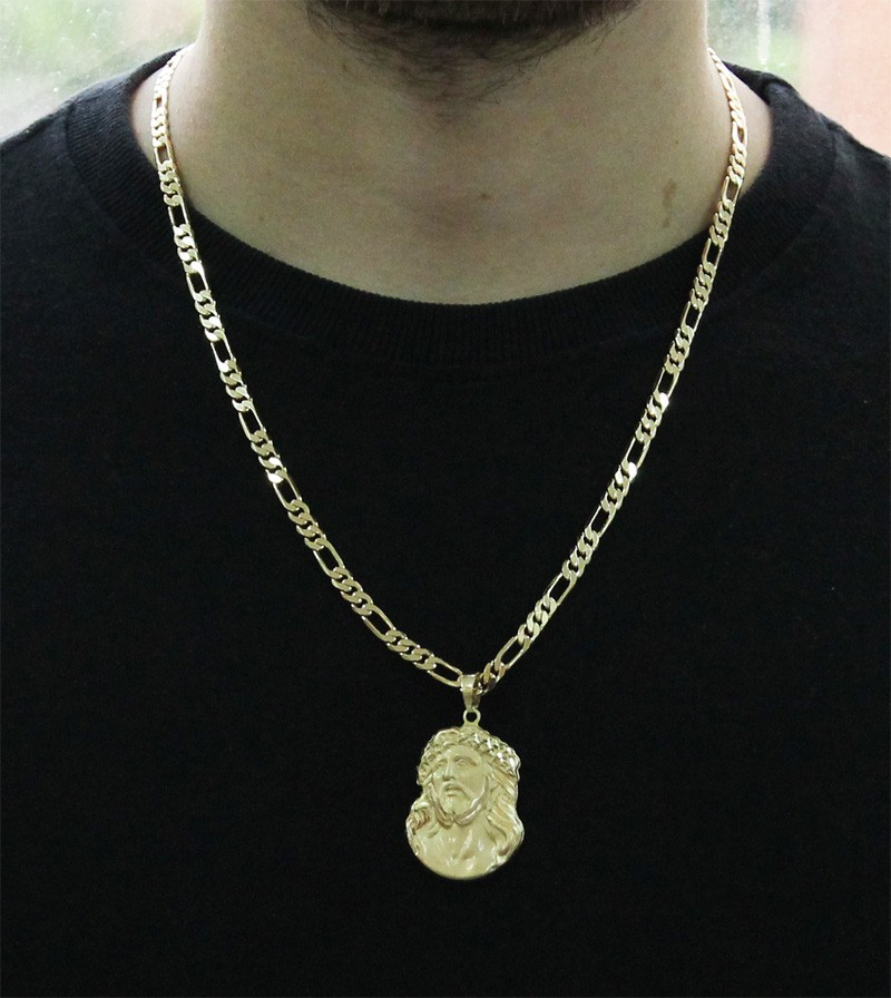 Kit Pingente Face de Cristo com Corrente 6mm x 60cm Folheada a Ouro 18k