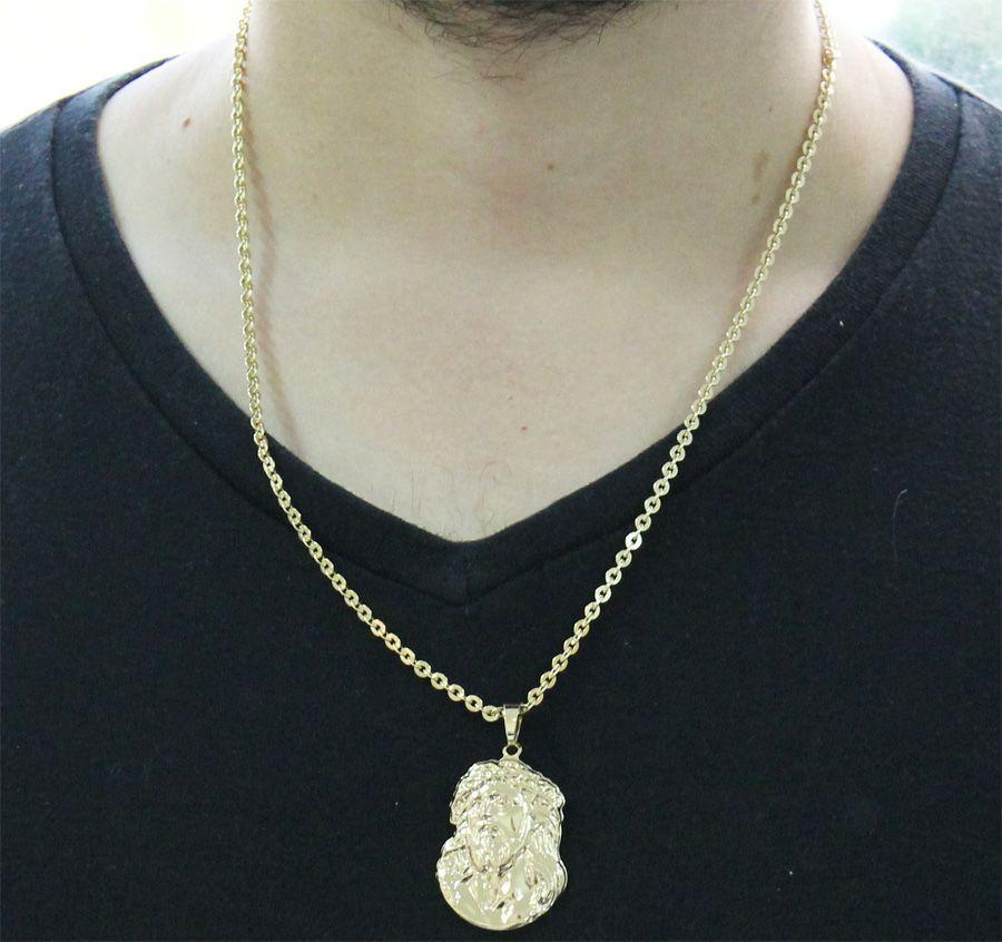 Kit Pingente Face de Cristo com Corrente Cadeado Folheado a Ouro 18k