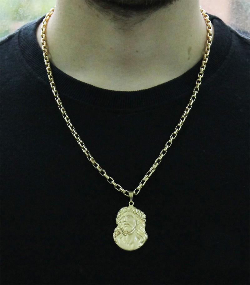 Kit Pingente Face de Cristo com Corrente Cartier 4mm x 60cm Folheada a Ouro 18k