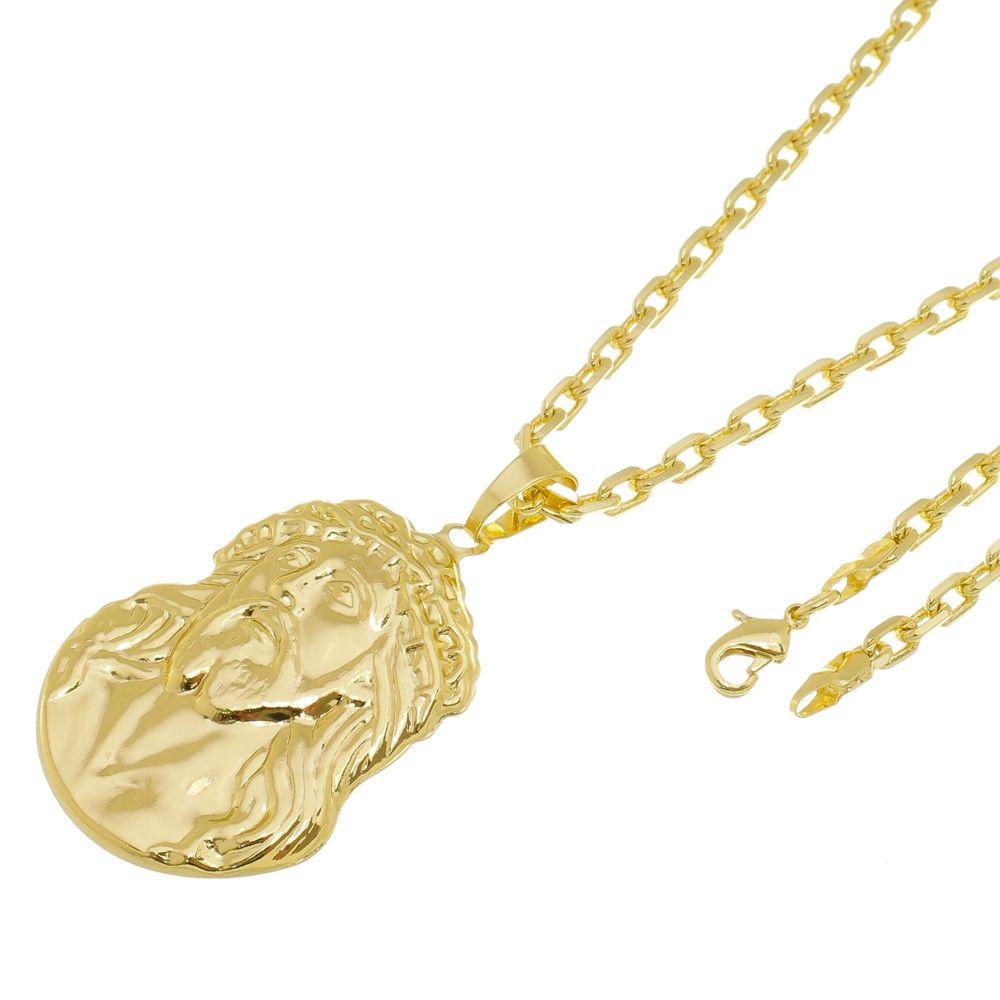 63c94a374fb Kit Pingente Face de Cristo com Corrente Cartier Diamantada Folheado a Ouro  18k - Tudo Jóias ...