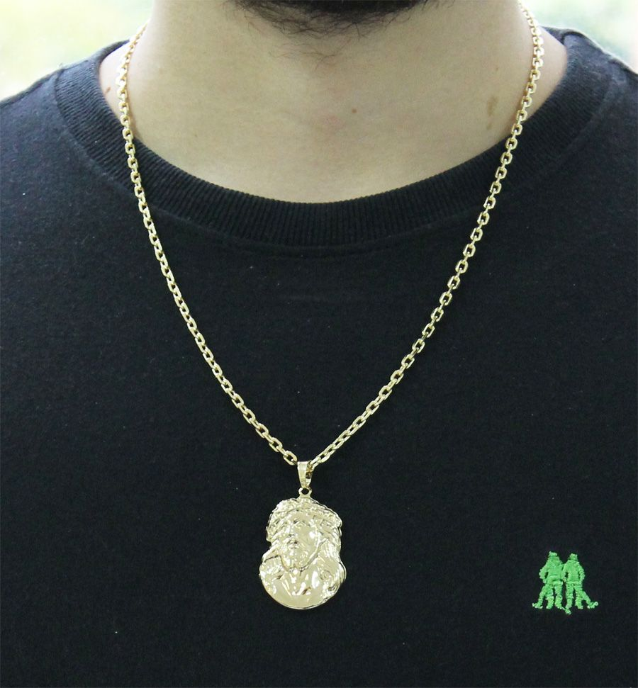 94f08ffb056 ... Kit Pingente Face de Cristo com Corrente Cartier Diamantada Folheado a  Ouro 18k - Tudo Jóias ...