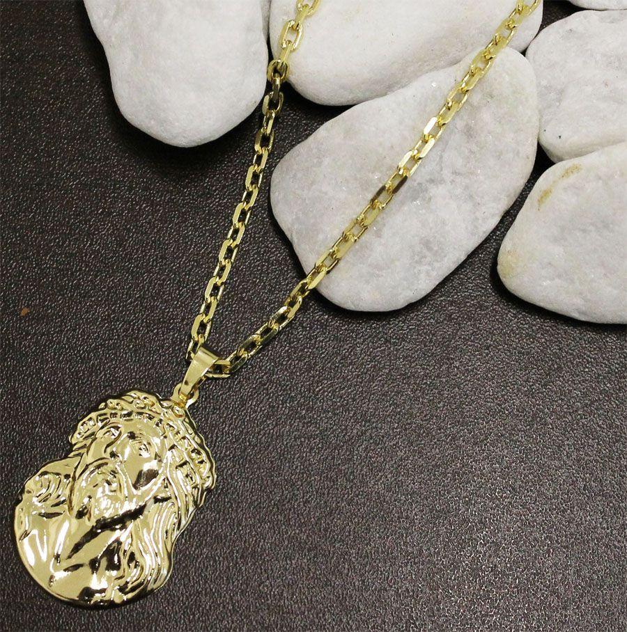 082fcfdd51f ... Kit Pingente Face de Cristo com Corrente Cartier Diamantada Folheado a  Ouro 18k - Tudo Jóias