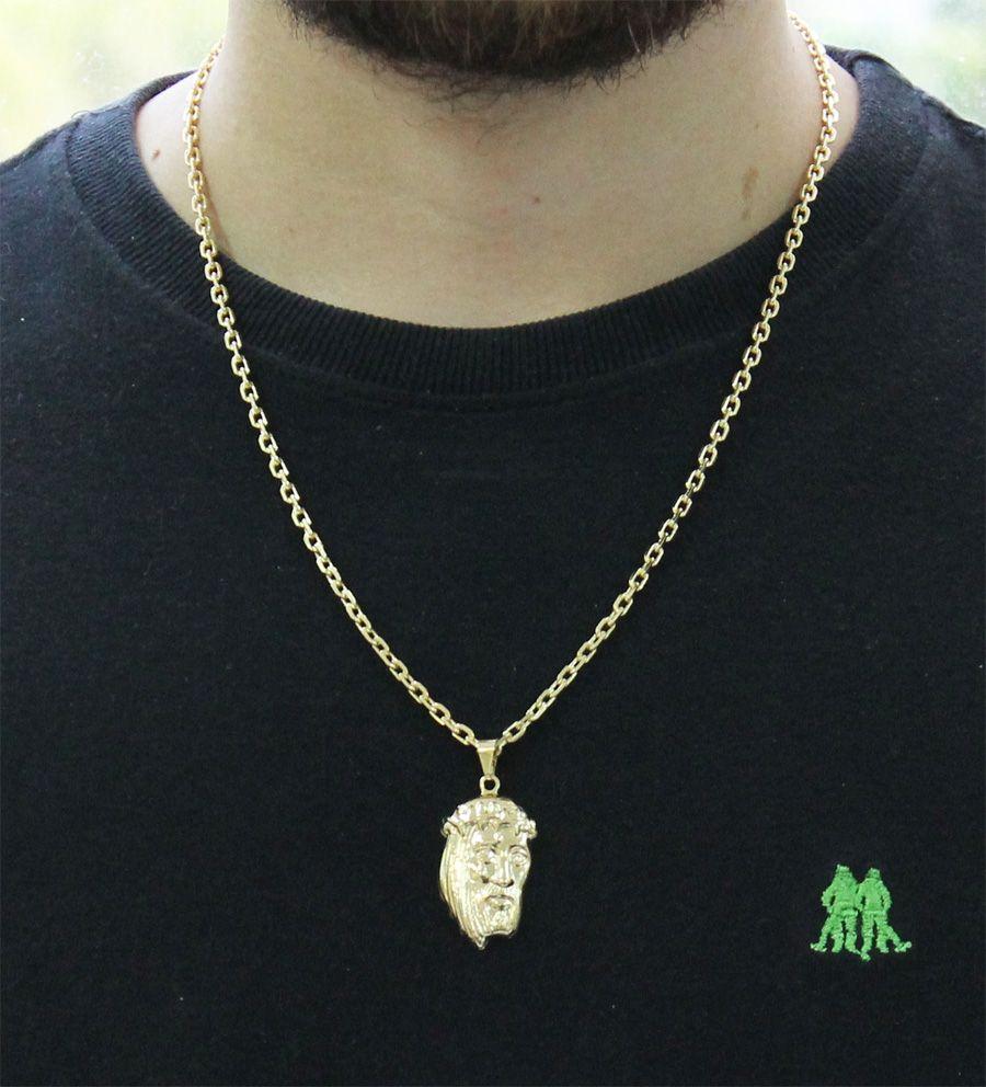 Kit Pingente Face de Cristo com Corrente modelo francesa Diamantada Folheado a Ouro 18k