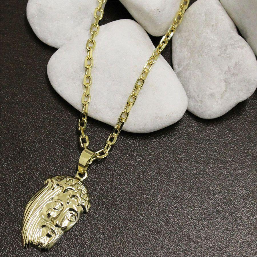 fbbd213c4e4 ... Kit Pingente Face de Cristo com Corrente Cartier Diamantada Folheado a  Ouro 18k ...