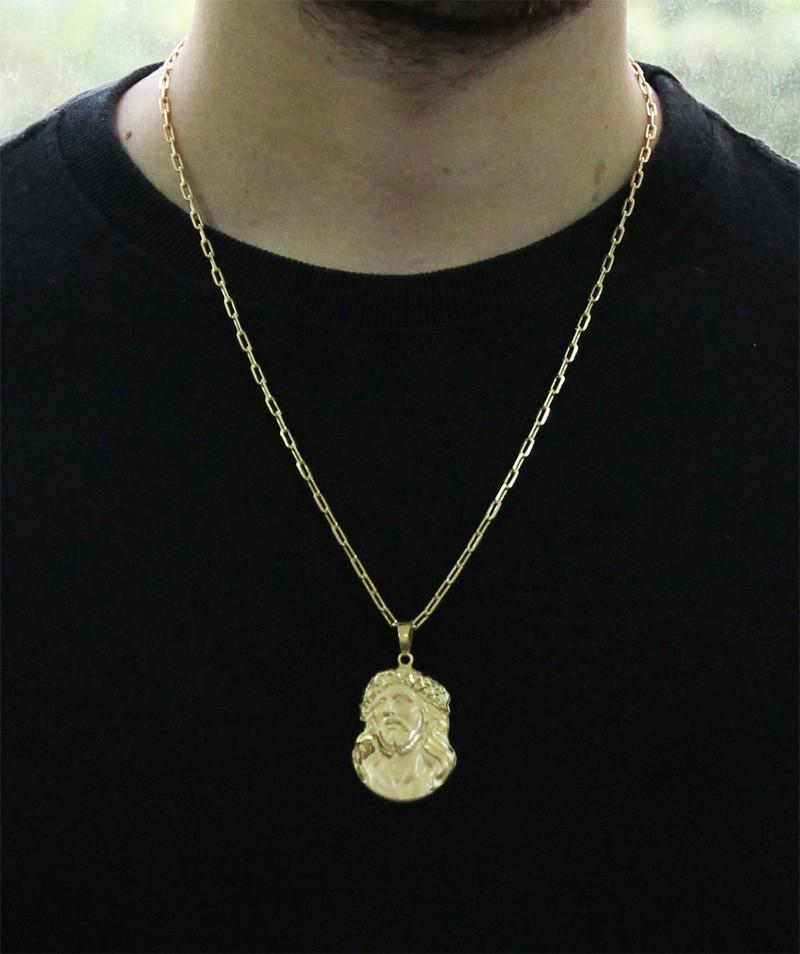 Kit Pingente Face de Cristo com Corrente modelo francesa Longa 2mm 60cm Folheado a Ouro 18k