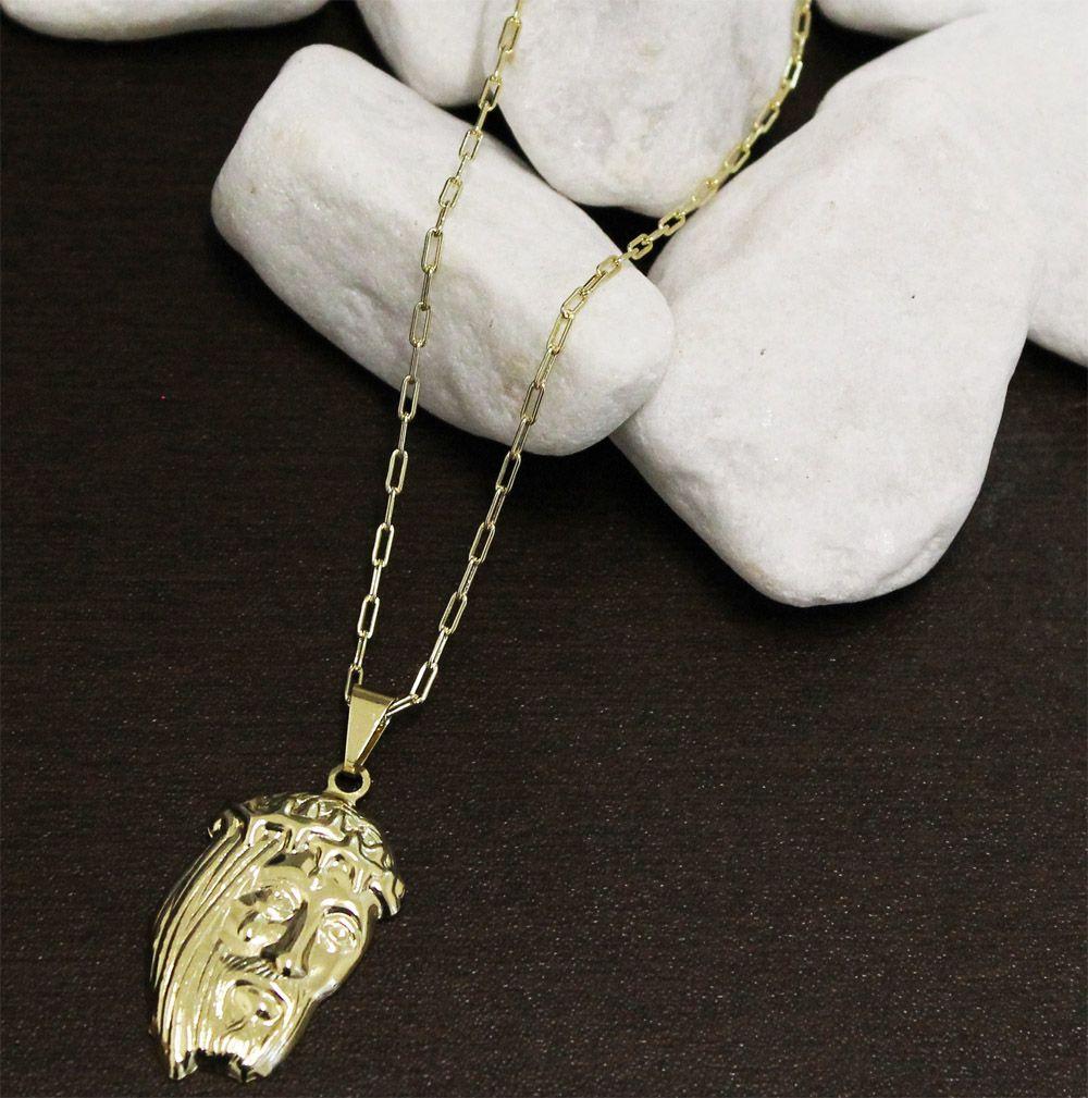 Kit Pingente Face de Cristo com Corrente modelo francesa Longa 2mm x 60cm Folheada a Ouro 18k
