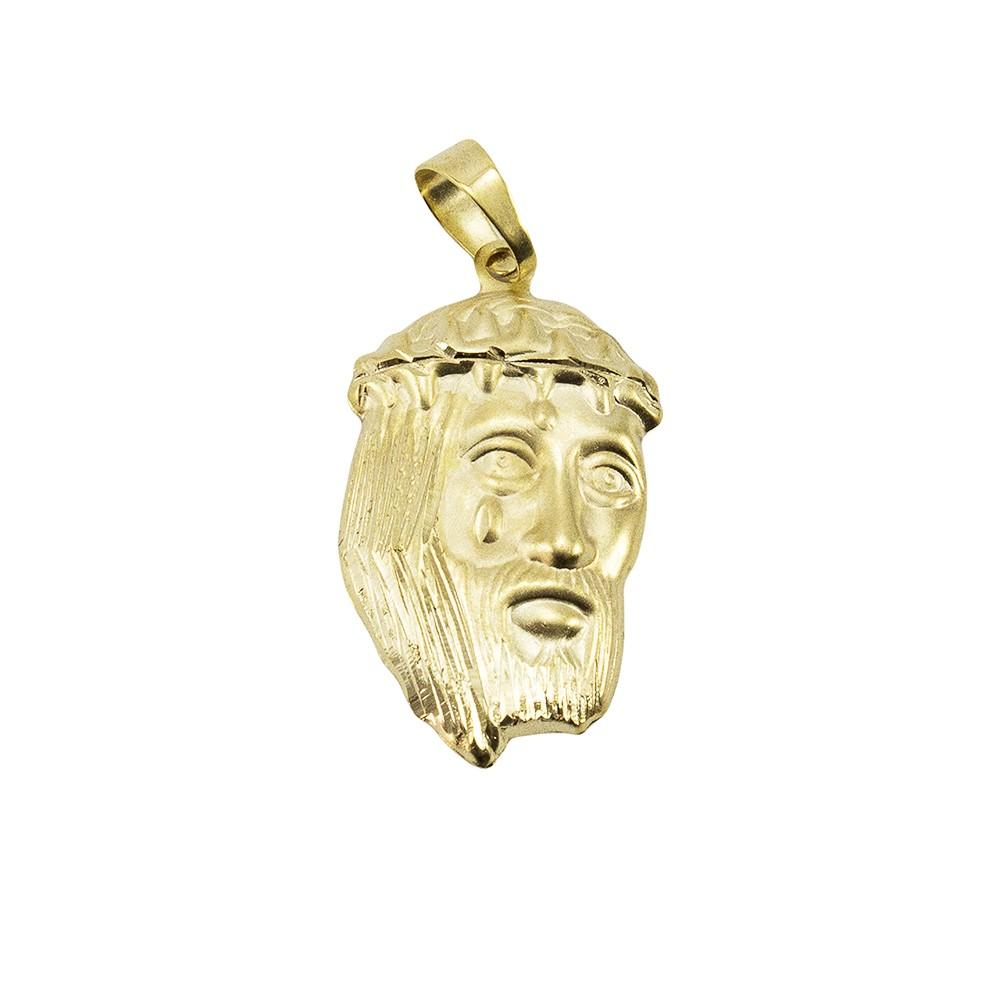 Kit Pingente Face de Cristo com Corrente elo 3x1 6mm e 60cm Folheado a Ouro 18k