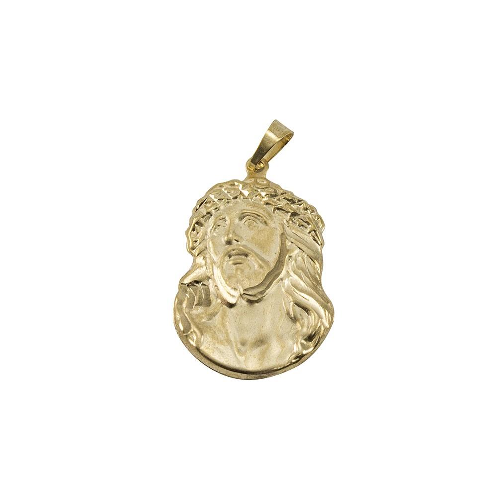 Kit Pingente Face de Cristo com Corrente Grumet 8mm x 60cm Folheada a Ouro 18k