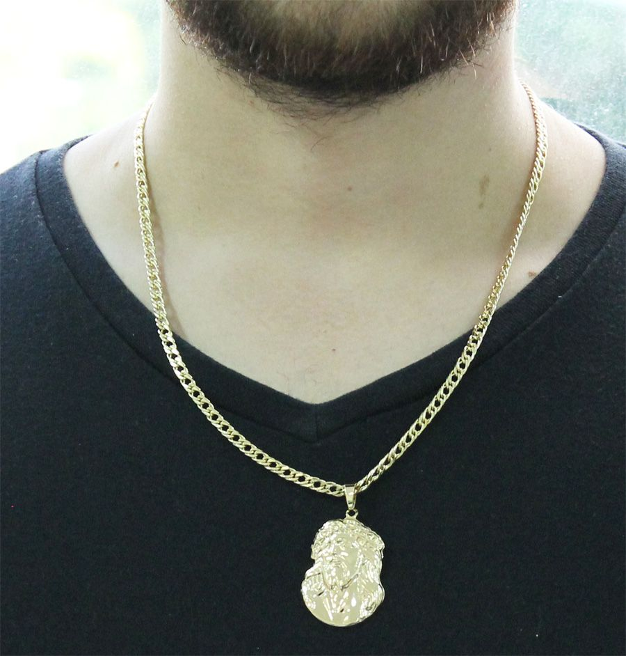 a676a014293 ... Kit Pingente Face de Cristo com Corrente Grumet Dupla Folheado a Ouro  18k - Tudo Jóias