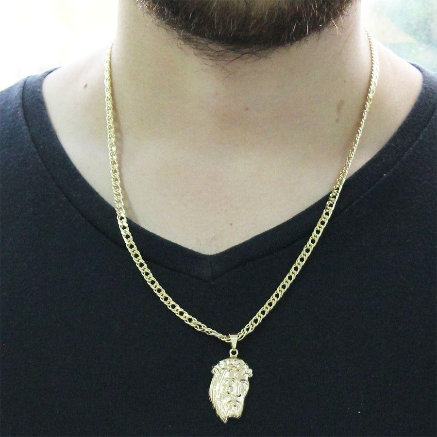 Kit Pingente Face de Cristo com Corrente Grumet Dupla Folheado a Ouro 18k