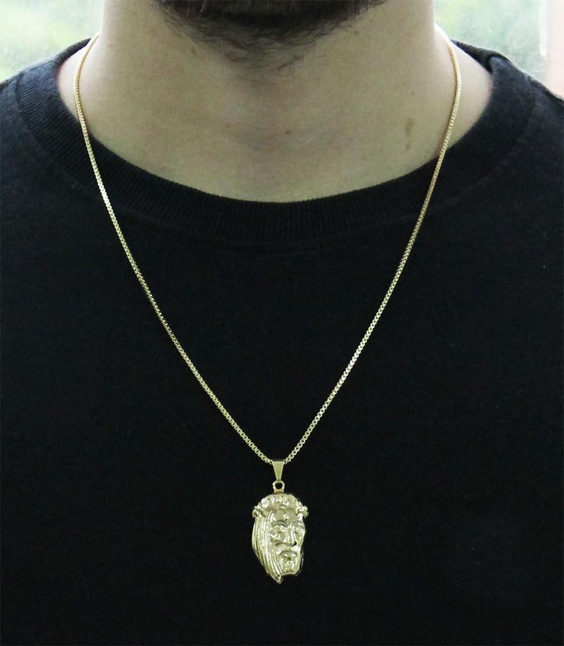 Kit Pingente Face de Cristo com Corrente Veneziana 1,5mm 60cm Folheado a Ouro 18k