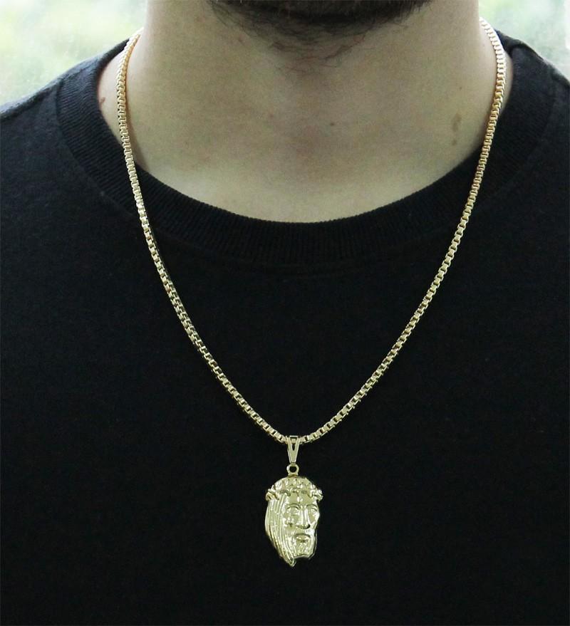 Kit Pingente Face de Cristo com Corrente Veneziana 3mm 60cm Folheado a Ouro 18k