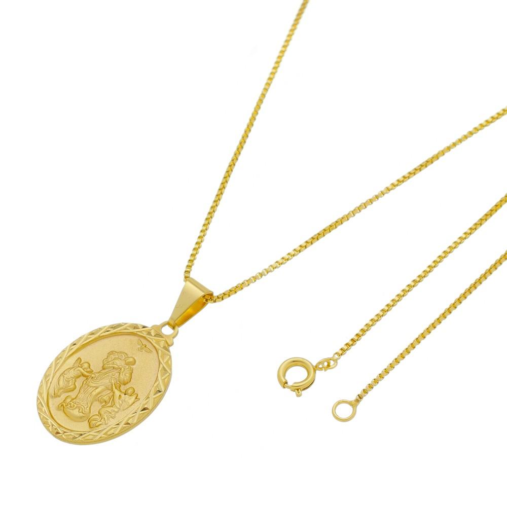 Medalha Desatadaora de Nós com Corrente Veneziana Folheada a Ouro