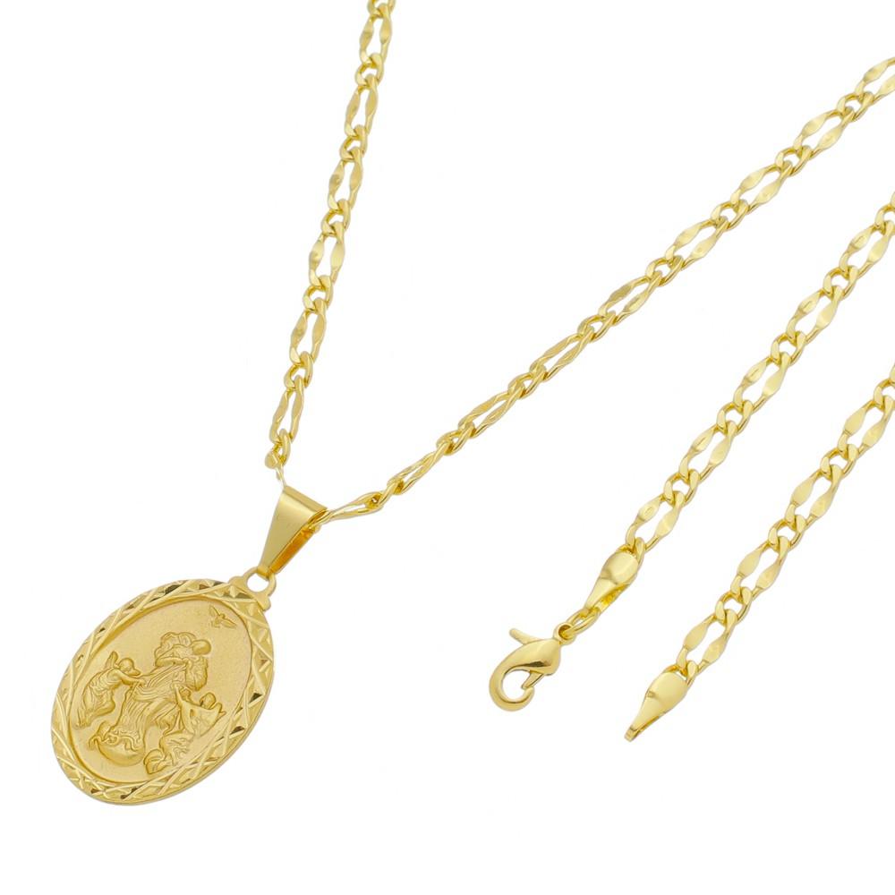 Medalha Desatadora de Nós com Corrente Batida 1x1 Folheada a Ouro