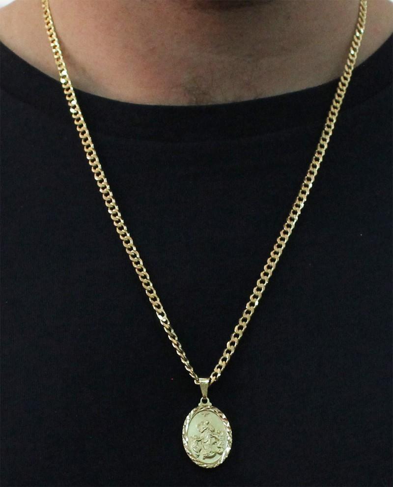 Medalha Desatadora de Nós com Corrente Grumet 5mm Folheada a Ouro