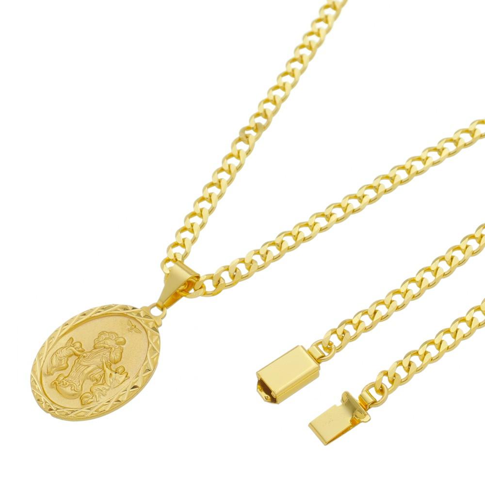 Medalha Desatadora de Nós com Corrente Grumet 5mm Gaveta Folheada a Ouro