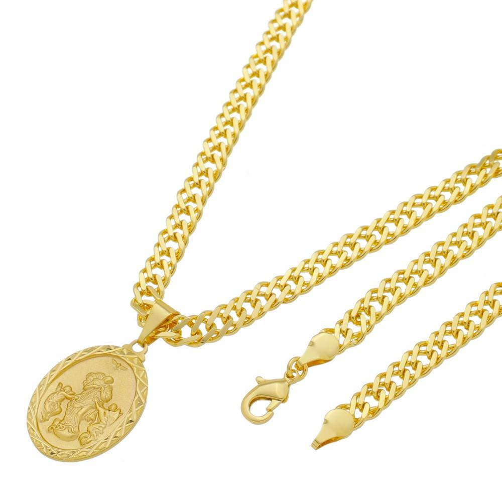 Medalha Desatadora de Nós com Corrente Grumet Dupla Grossa Folheada a Ouro