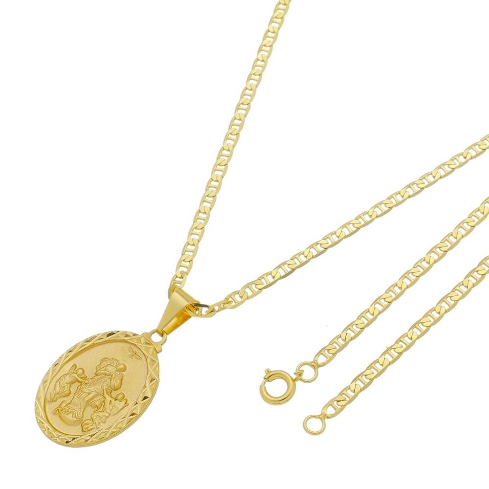 Medalha Desatadora de Nós com Corrente Italiana Folheada a Ouro