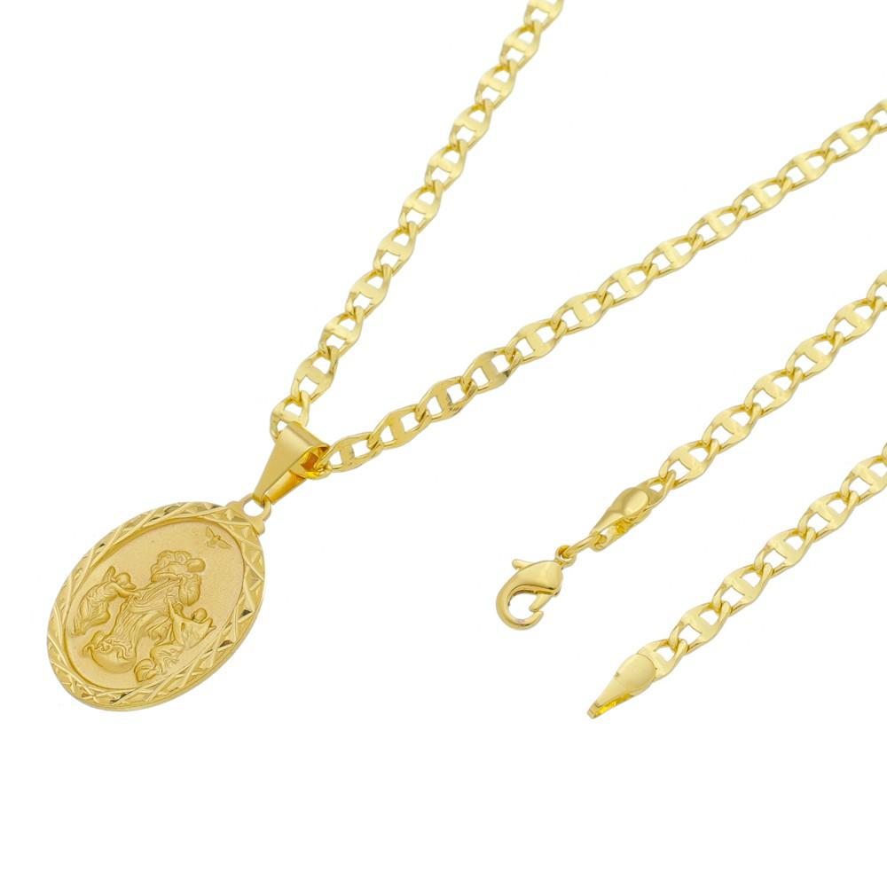 Medalha Desatadora de Nós com Corrente Mod. Italiana Folheada a Ouro