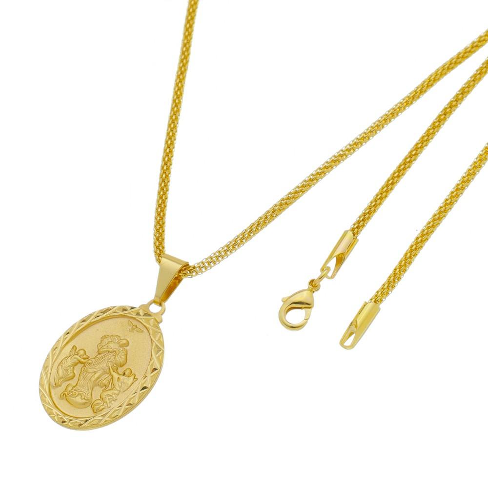 Medalha Desatadora de Nós com Corrente Rede Folheada a Ouro