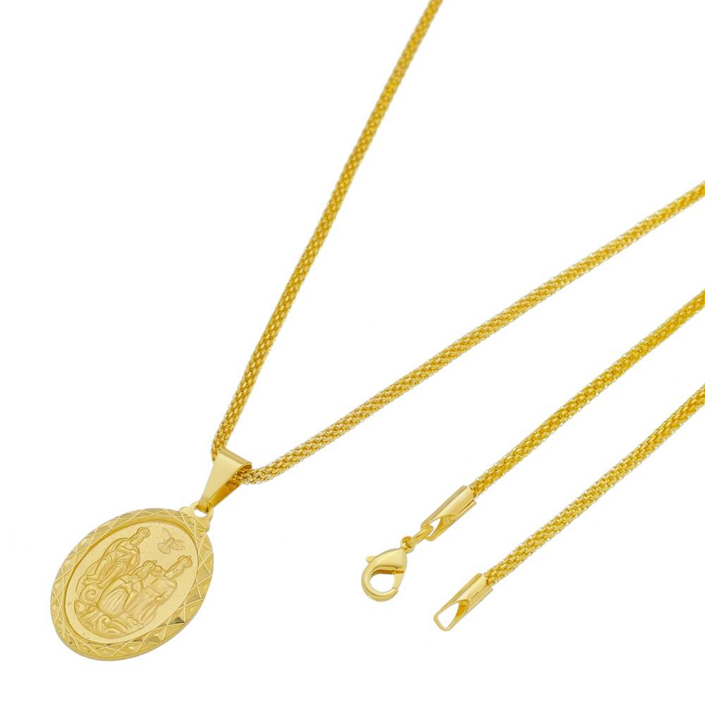 Medalha Divino Pai Eterno com Corrente Rede Folheada a Ouro