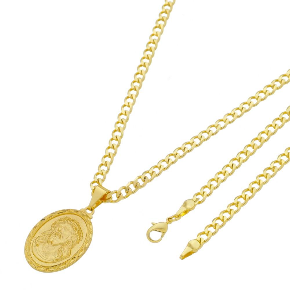 Medalha Jesus com Corrente Grumet 5mm Folheada a Ouro