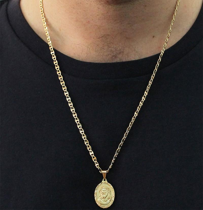 Medalha Jesus com Corrente Mod. Italiana Folheada a Ouro