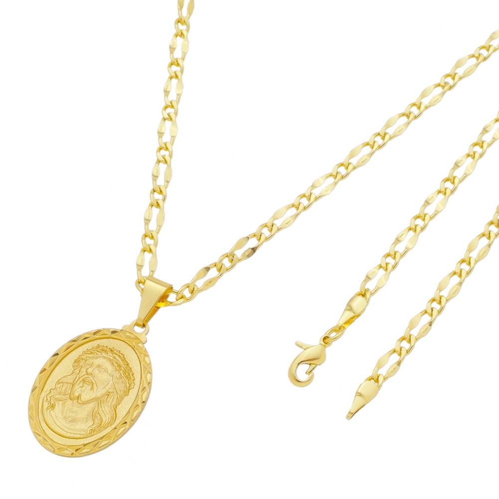 Medalha Jesus Cristo com Corrente Batida 1x1 Folheada a Ouro