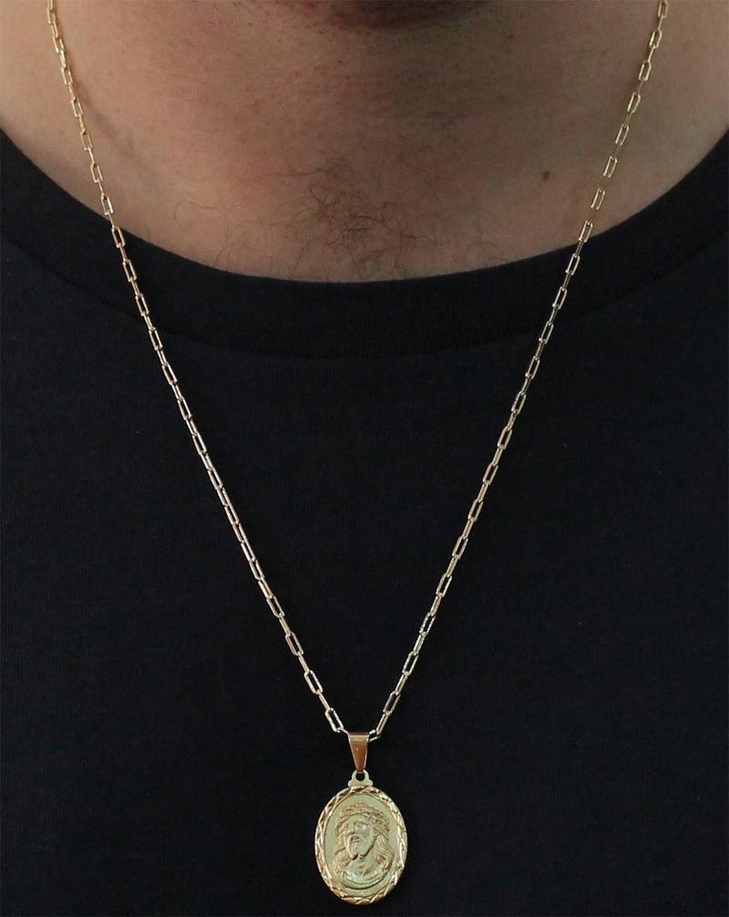 Medalha Jesus Cristo com Corrente Francesa Longa Folheada a Ouro