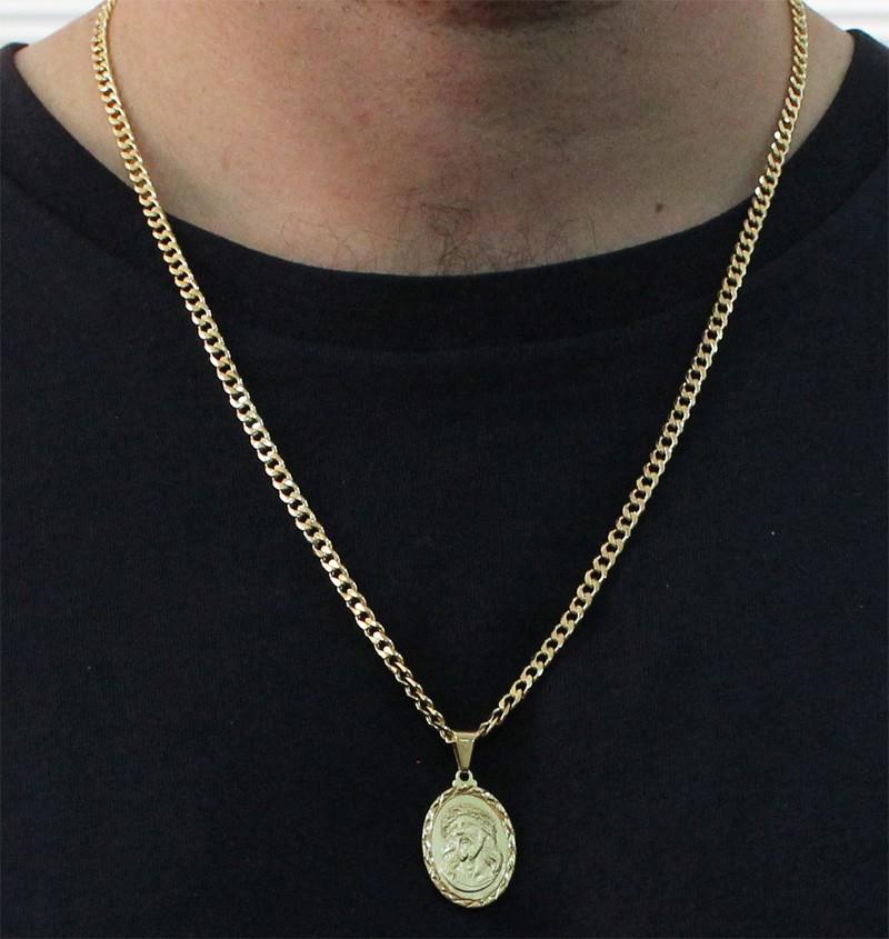 Medalha Jesus Cristo com Corrente Grumet 5mm Gaveta Folheada a Ouro