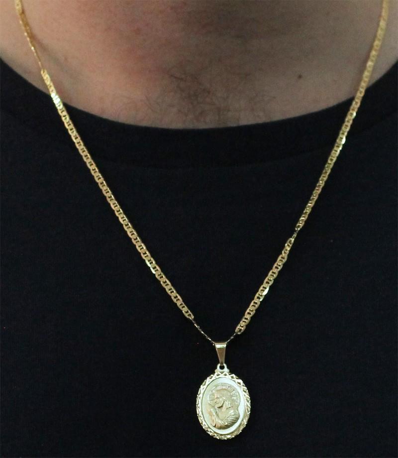 Medalha Jesus Cristo com Corrente Italiana Folheada a Ouro