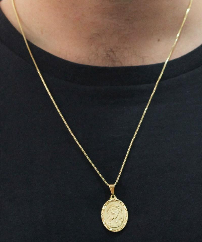Medalha Jesus Cristo com Corrente Veneziana Folheada a Ouro