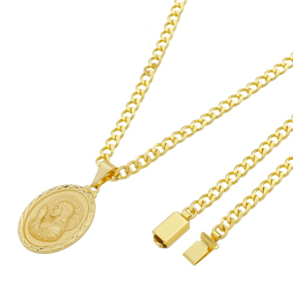 Medalha Jesus Cristo Orando com Corrente Grumet 5mm Gaveta Folheada a Ouro