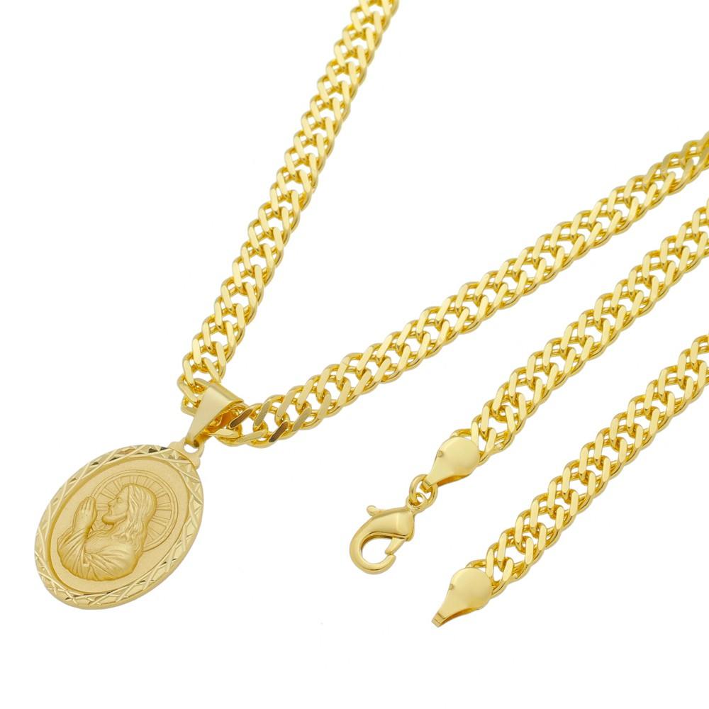 Medalha Jesus Cristo Orando com Corrente Grumet Dupla Grossa Folheada a Ouro