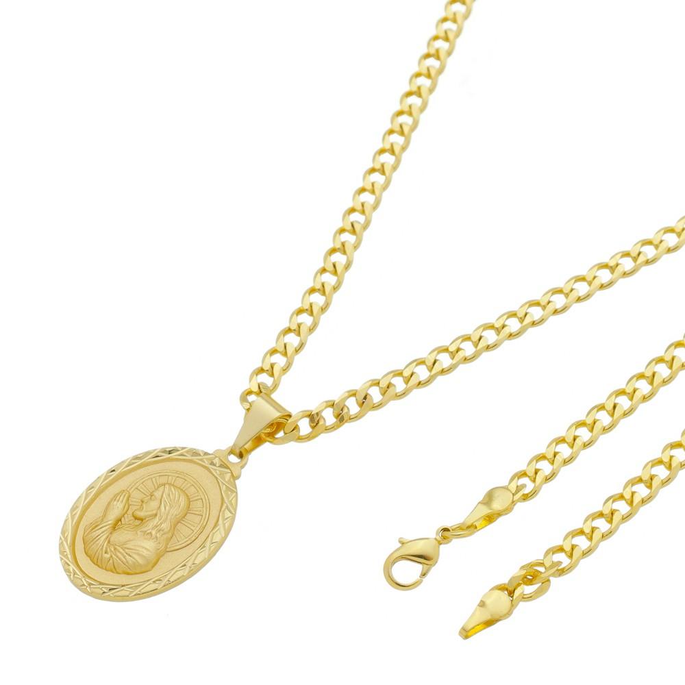 Medalha Jesus Orando com Corrente Grumet 5mm Folheada a Ouro