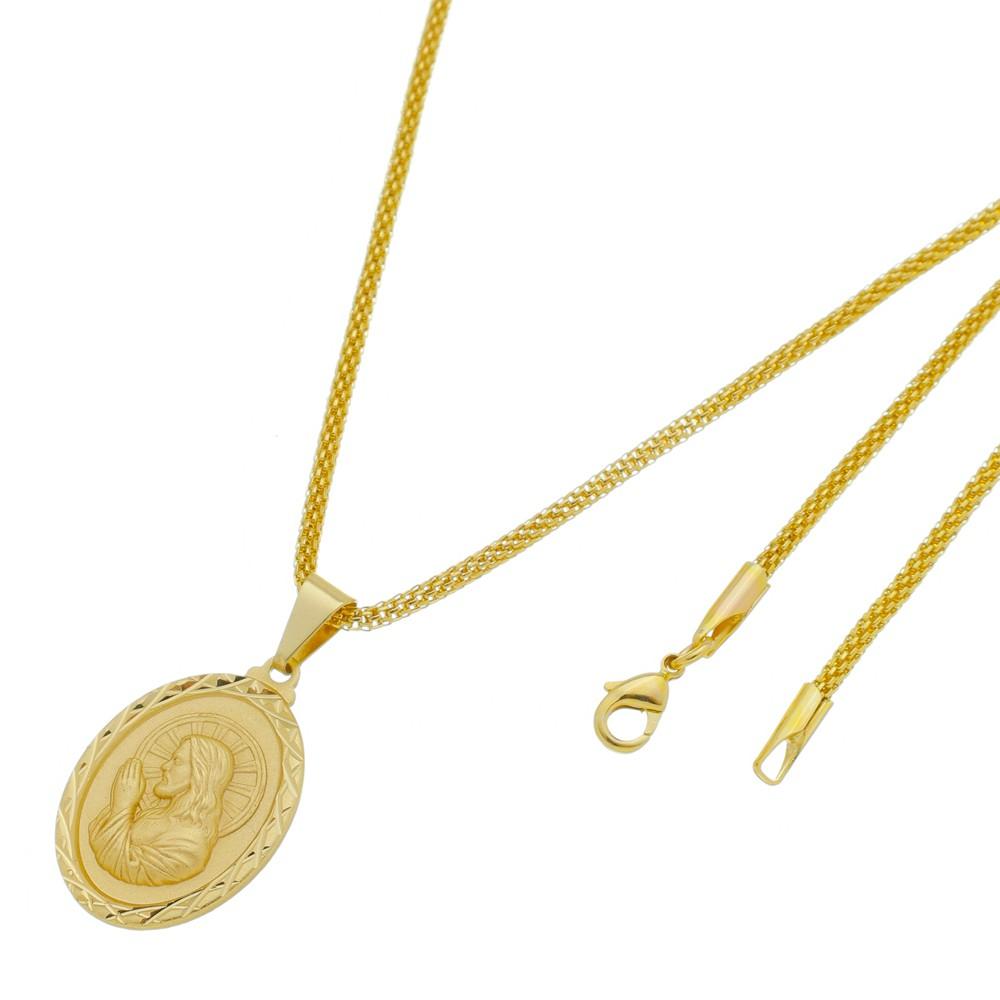 Medalha Jesus Orando com Corrente Rede Folheada a Ouro