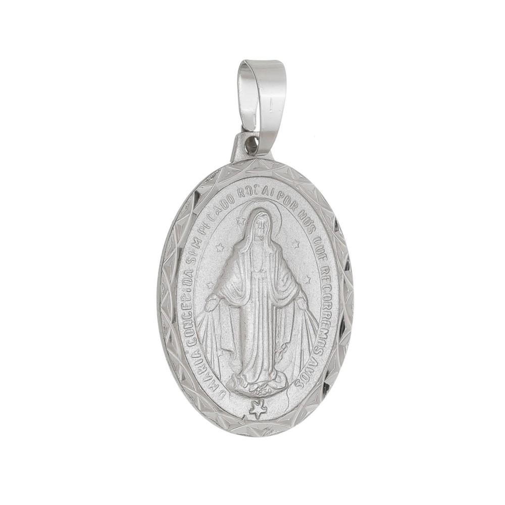 Medalha Nossa Senhora das Graças Folheado a Ródio Branco/Prateado